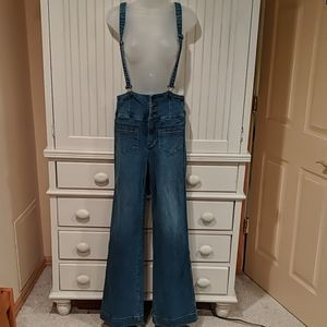 Free People Wide Leg Suspender Overalls